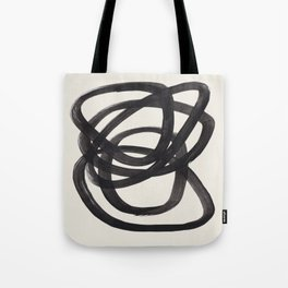 Mid Century Modern Minimalist Abstract Art Brush Strokes Black & White Ink Art Spiral Circles Tote Bag