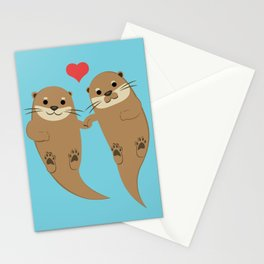 Otters Holding Hands Stationery Cards