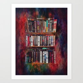 Stephen King Books on Shelves Art Print