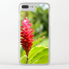 Hawaiian Red Ginger Clear iPhone Case