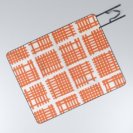 Mid Century Modern Abstract Squares Orange Picnic Blanket
