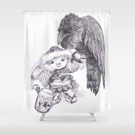 Odin and Huginn Shower Curtain