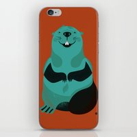 beaver iPhone & iPod Skins featuring Beaver by The Little Friends of Printmaking