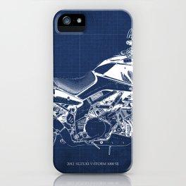 20-2012 Suzuki V-Strom 1000 SE, blueprint motorcycle, man cave decoration iPhone Case