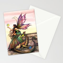 Dragon's Orbs Fairy and Dragon Fantasy Art Illustration by Molly Harrison Stationery Cards
