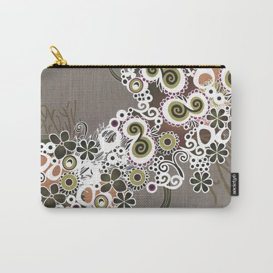 Diagonal flower – brown and olive green fiber Carry-All Pouch