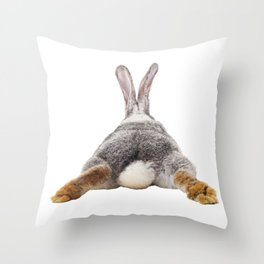 Cute Bunny Rabbit Tail Butt Image Easter Animal Throw Pillow