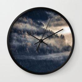 Calming Mountain Fog Scene Wall Clock