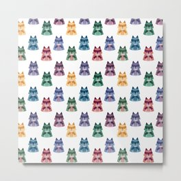 racoon with milk pattern Metal Print
