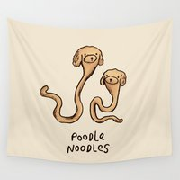 poodle Wall Tapestries featuring Poodle Noodles by Sophie Corrigan