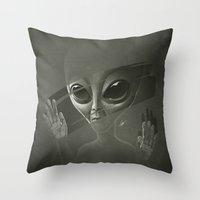 alien Throw Pillows featuring Alien by Dr. Lukas Brezak