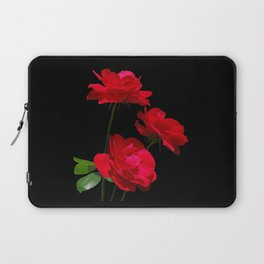 Red roses on black background Laptop Sleeve
