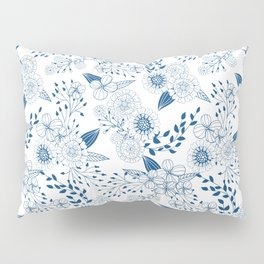 Doodle flowers in classic blue Pillow Sham