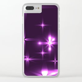 Purple background with shining light metal stars. Clear iPhone Case