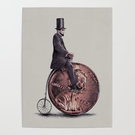 Penny Farthing (grey option) Poster