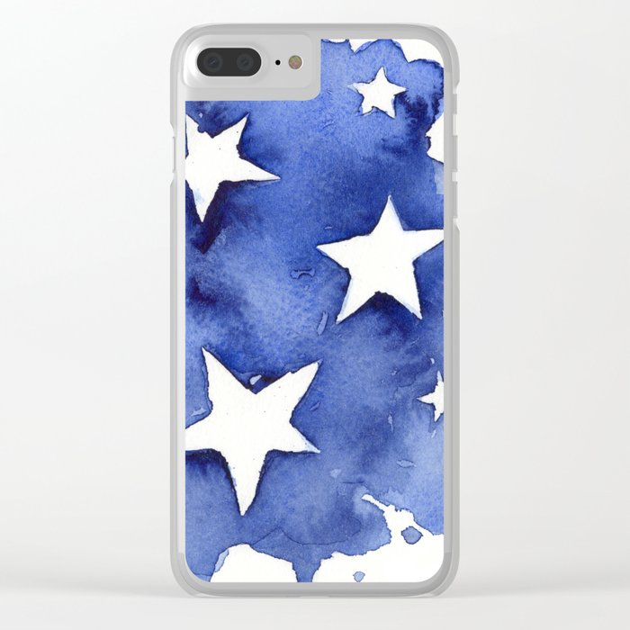 Stars Abstract Blue Watercolor Geometric Painting Clear iPhone Case