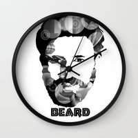 beard Wall Clocks featuring Beard! by Joséphine and friends/ et ses amis!