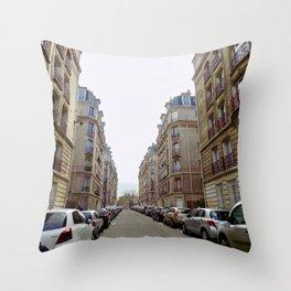 Paris street downtown Throw Pillow