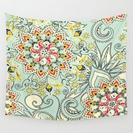 Robin's egg blue floral mandala Wall Tapestry