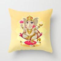 ganesh Throw Pillows featuring Ganesh by Danilo Sanino