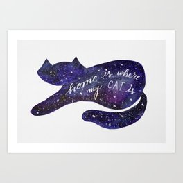 Watercolor Galaxy Cat - purple Art Print