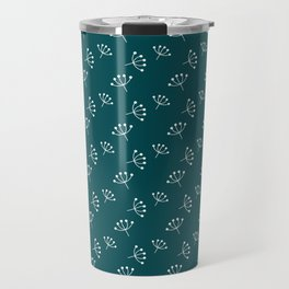 Teal blue And White Queen Anne's Lace pattern Travel Mug