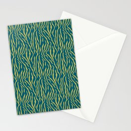Dark Yellow Tiger Stripes Pattern on Sherwin Williams Trending Colors of 2019 Oceanside Dark Aqua Blue SW 6496 Turquoise Stationery Cards