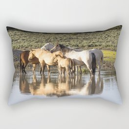 Reflection of a Mustang Family Rectangular Pillow