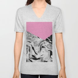 Pink Black and White Marble Colour Blocking Unisex V-Neck