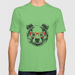 Portrait of Bear with glasses. T-shirt