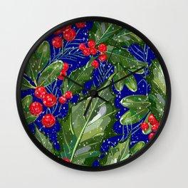 Christmas Snow Holly   Blue Wall Clock
