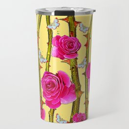 WHITE BUTTERFLIES & CERISE PINK ROSE THORN CANES YELLOW Travel Mug