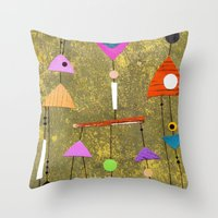 50s Throw Pillows featuring Retro Fantasy 50s by Beatrice Roberts