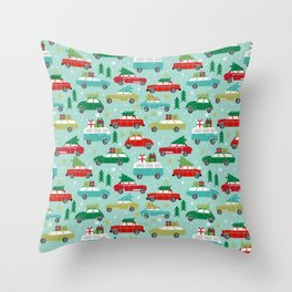 Christmas car tradition christmas trees holiday pattern winter festive Throw Pillow