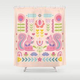 Pink Squirrels In A Scandinavian Garden Shower Curtain