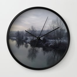 River Wye In Winter Herefordshire English Countryside Wall Clock