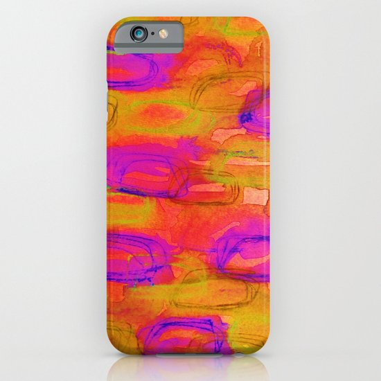 NOT YET, NIGHT - Bright Bold Colorful Abstract Watercolor Mixed Media Painting Warm Dusk Tones iPhone & iPod Case