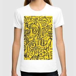 Yellow Street Art Graffiti Train Ticket T-shirt