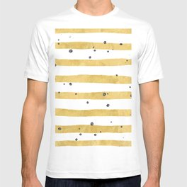 Modern hand painted yellow gold black watercolor splatters stripes T-shirt