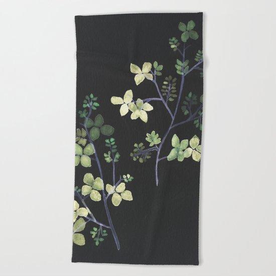Olive Flowers Beach Towel