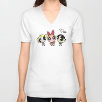 powerpuff girls V-neck T-shirts featuring Powerpuff Girls by Mind of Bae