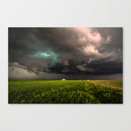 May Thunderstorm - Twisting Storm Over House in Colorado Canvas Print