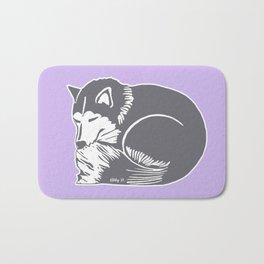 Sleeping Husky Dog Bath Mat