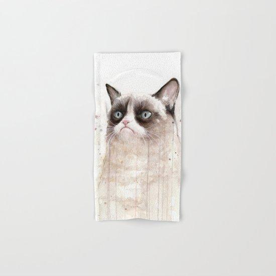 Grumpy Watercolor Cat Geek Meme Whimsical Animals Hand & Bath Towel