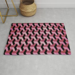 Red Grunge Abstract Geometric Pattern Rug