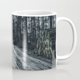 Poltery Site (Wood Storage Area) After Storm Victoria Möhne Forest 5 dark Coffee Mug