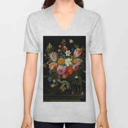 "Jan van Kessel de Oude ""Tulips, peonies, chicory, carnations, cherry blossom and other flowers"" Unisex V-Neck"