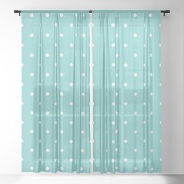 Small White Polka Dots with Aqua Background Sheer Curtain