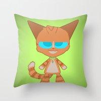 dave matthews Throw Pillows featuring Dave Cat by Catmaniac8x