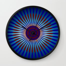 Mandala Sunrise in Maroon and Blue Wall Clock